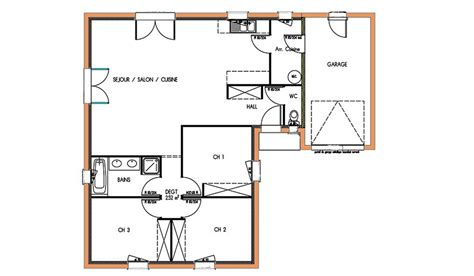 Plan Maison 90m2 Plain Pied 4345 by Plan Maison 90m2 Gratuit