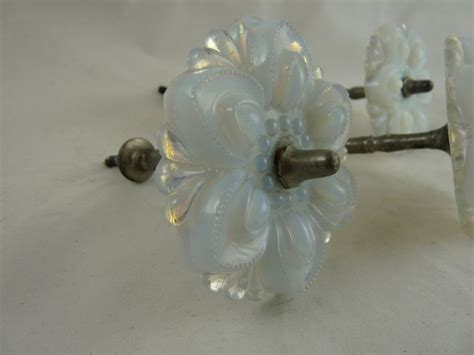 antique glass curtain tie backs vintage pressed opalescent glass curtain tiebacks from