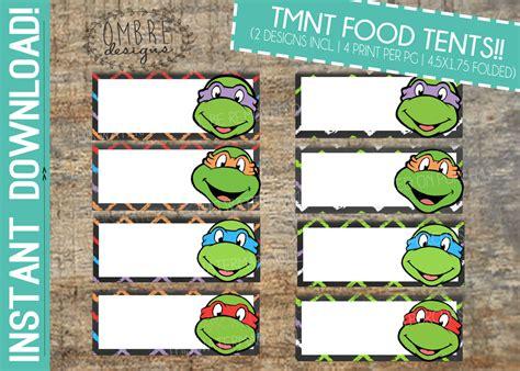 ninja turtles printable name tags ninja turtle party food tents tmnt food tents ninja