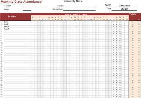 monthly class attendance template search results for attendance log template 2016