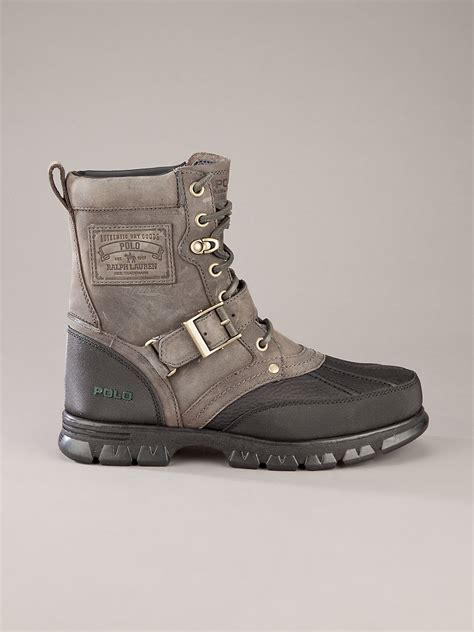 grey polo boots polo ralph ankle boot in gray for grey lyst