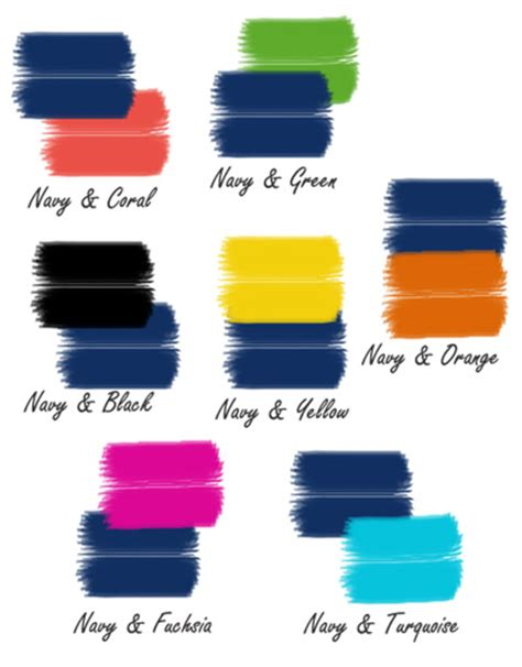 good color pairs navy blue color schemes