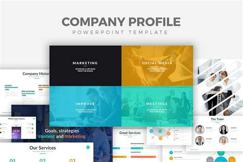 Company Profile Powerpoint Template Presentation Templates Creative Market Company Powerpoint Template