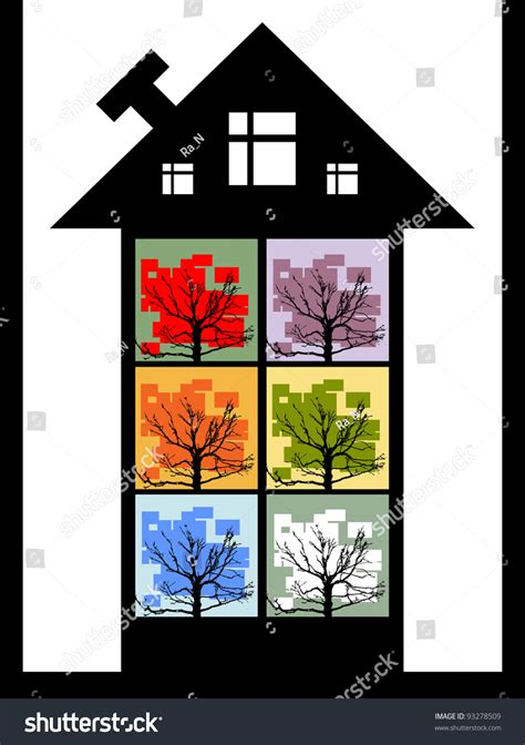 design banner congress house windows trees creative banner design stock photo