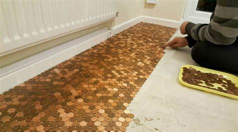 1 Pence Coin Floor - creates kitchen floor with one pence pennies uk