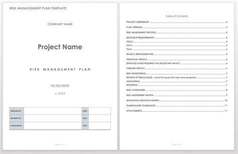 Free Risk Management Plan Templates Smartsheet Plan Template For Managers
