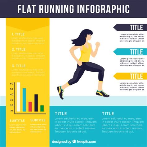 Flat Running Infographic Template Vector Free Download Fitness Infographic Template