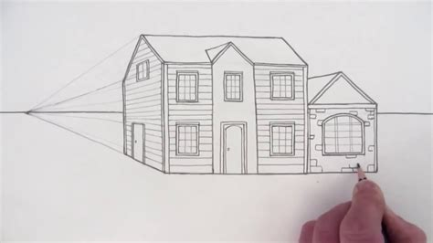 one point perspective house how to draw a house in one point perspective youtube
