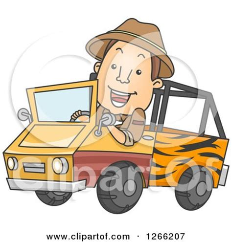 safari truck clipart clipart of a happy brunette white safari man driving a