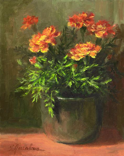 marigold paint marigolds painting by linda jacobus