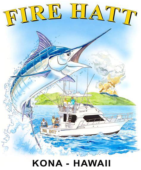 sport fishing boat artwork craig smith art featured on fire hatt sportfishing tee shirts