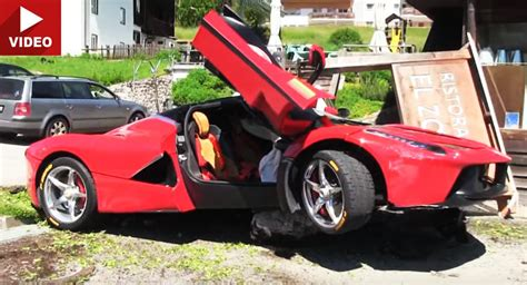 laferrari crash laferrari crashes big during cavalcade in italy
