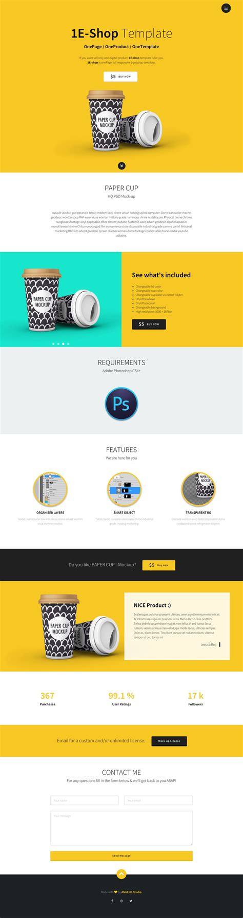 1e Shop Is A Clean Spacious One Page Html Template Aimed At Selling A Single Product The Single Product Ecommerce Website Template