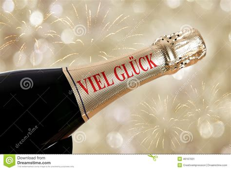 new year luck writing viel glueck luck german on chagne bottle stock