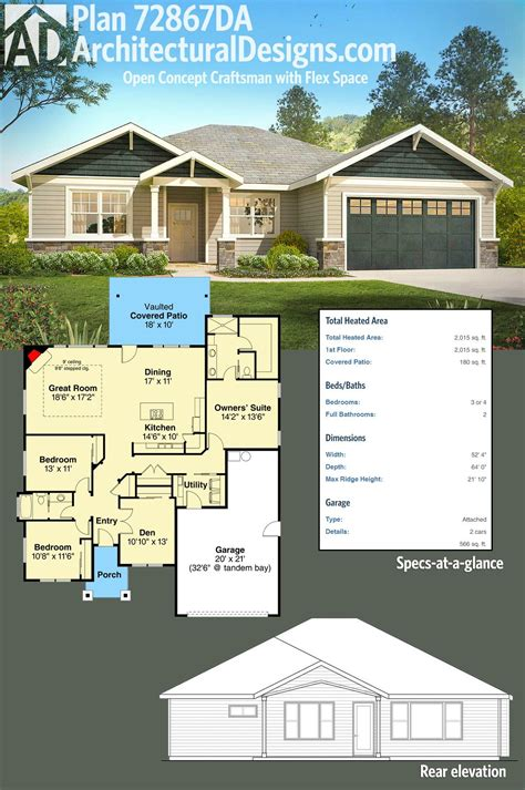 house plans open concept plan 72867da open concept craftsman with flex space