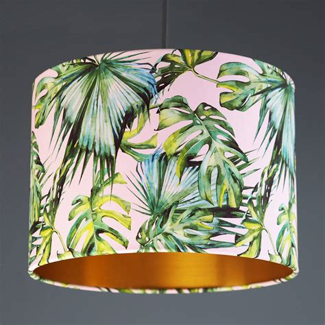 Blush Tropical blush and green tropical print drum lshade by quirk notonthehighstreet