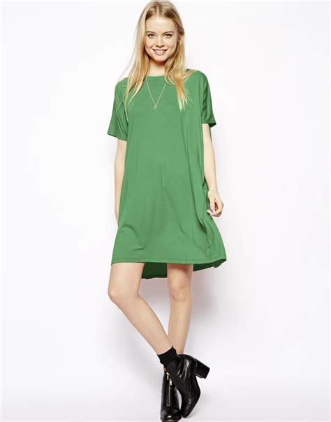 T Dress Lyst Asos T Shirt Dress With Sleeves In Green