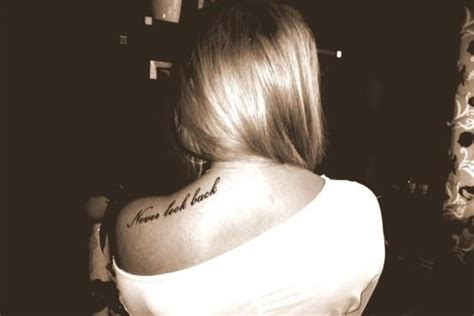 back tattoo quote placement quot never look back quot shoulder blade quote tattoo rat a