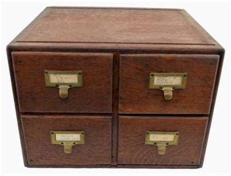 antique 4 drawer library index card cabinet quartersawn