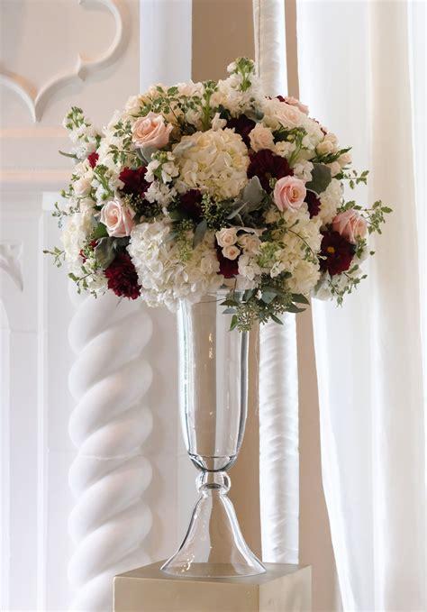 wedding arrangement in blush white and burgundy burgundy wine