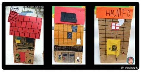 paper bag haunted house pattern 10 halloween art lessons for kids art with jenny k
