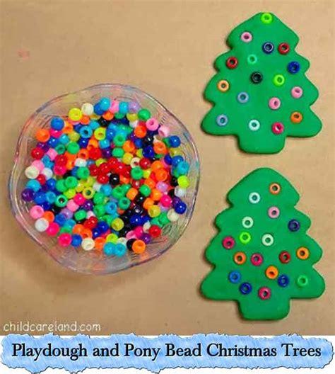 playdough and pony bead christmas trees lil moo creations
