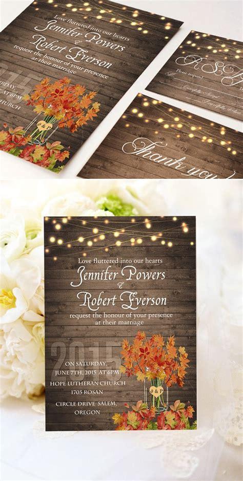 cheap rustic wooden string light jar fall wedding invites ewi395 wedding helpful hints