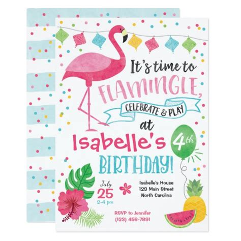 Summer Flamingo Birthday Invitation Flamingle Card Zazzle Com Flamingo Invitation Template Free