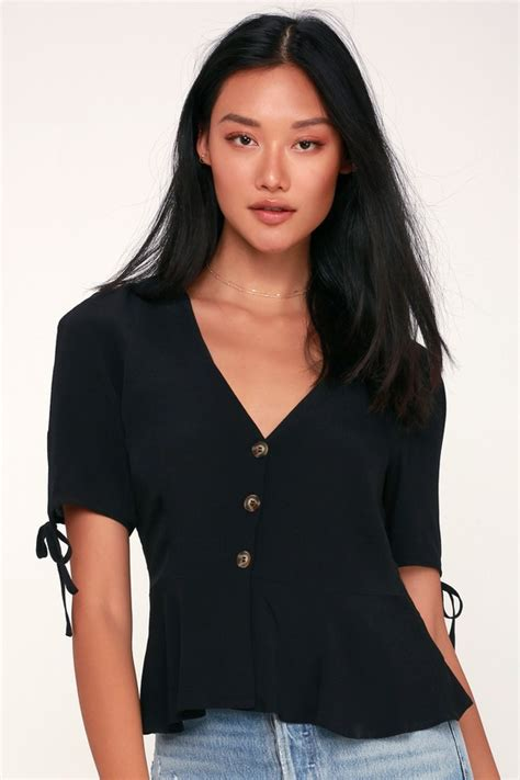 Top Button Black chic black top button up top peplum top button up blouse