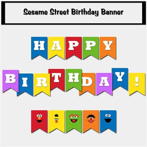 sesame street inspired happy birthday banner printable