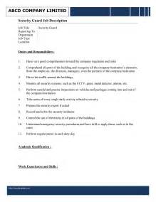 Responsibilities Of A Security Officer by Security Guard Description Template Free Microsoft Word Templates