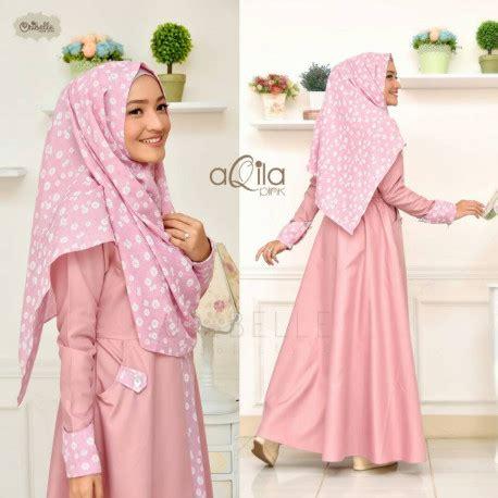 Terlaris Pashmina Cutting aqila pink baju muslim gamis modern