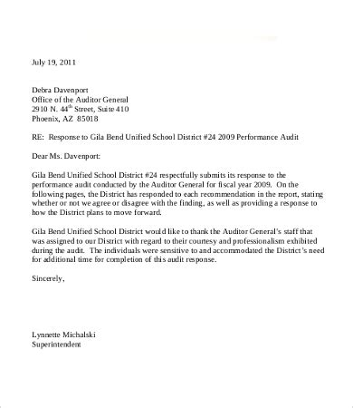 Audit Response Letter In House Counsel Response Letter Template Letter Template 2017
