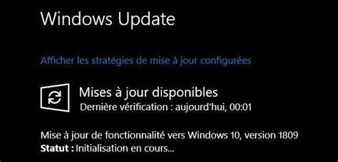 la mise  jour de windows  octobre  est disponible