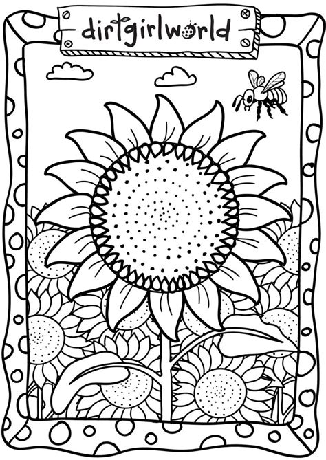 sunflower garden coloring page dirt girl world sunflower colouring page special day
