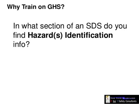 how many sections in sds ghs canada are you training yet i hope so