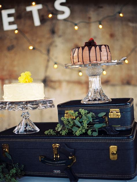 Decorate Home On A Budget indie industrial wedding vintage suitcase dessert table