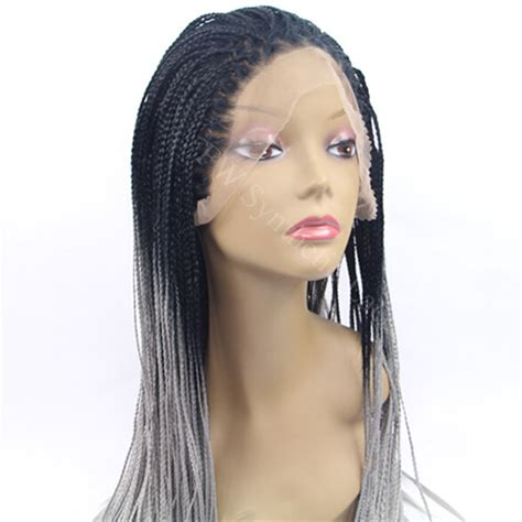 1b synthetic lace front wig cheap kinky braiding wig ombre grey braiding synthetic lace front wig 1b to grey
