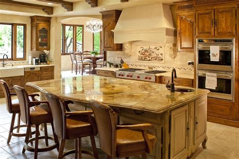 tuscan kitchen island tuscany kitchen with chisled versaille pattern travertine floors