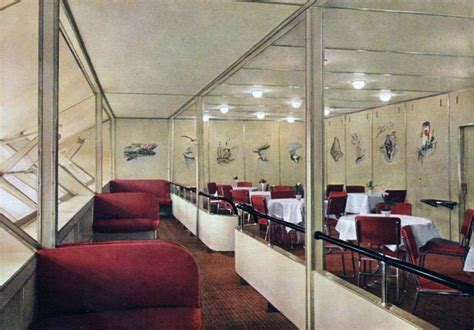 1930s color photographs of the interior of the zeppelin