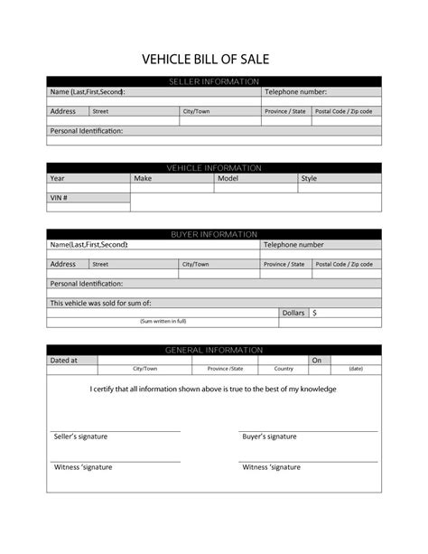 46 fee printable bill of sale templates car boat gun