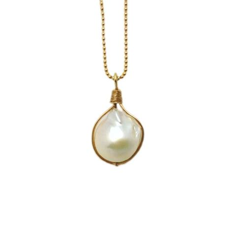The Baroque Frame Necklace Versailles On A Chain by Baroque Pearl Pendant Wirewrapped Onto Gold