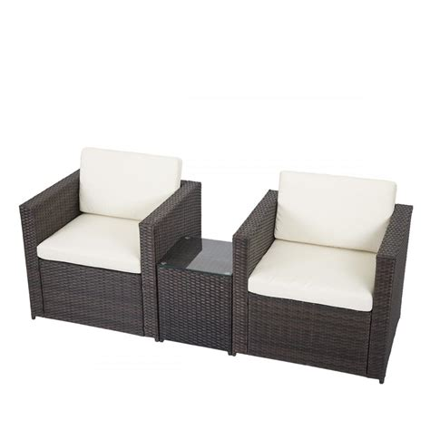 3 pcs outdoor patio sofa set sectional furniture pe wicker