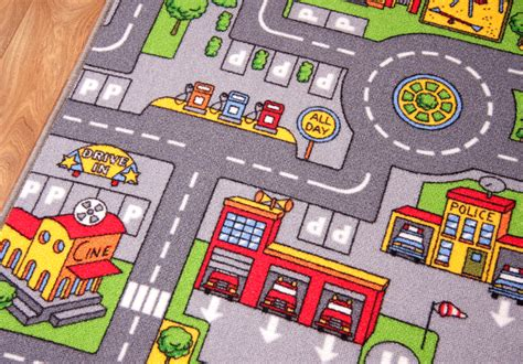 road rug small colourful kid s city play mat town cars play road rug ebay