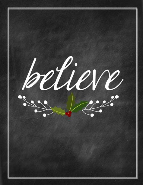 christmas printable believe chalkboard print by kameaj