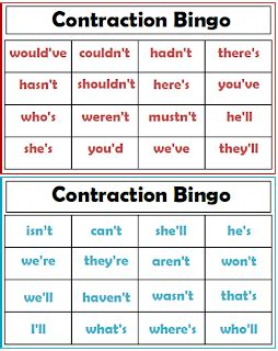 printable contraction games search results for second grade contraction word list