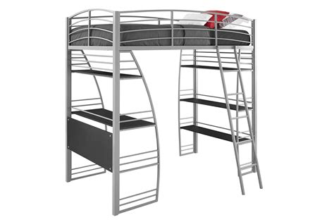Metal Frame Loft Beds Dhp Studio Loft Bunk Bed Desk And Bookcase With Metal Frame Gray Ebay