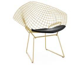 Rocking Chair Classic Bertoia Gold Plated Small Diamond Chair With Seat Cushion