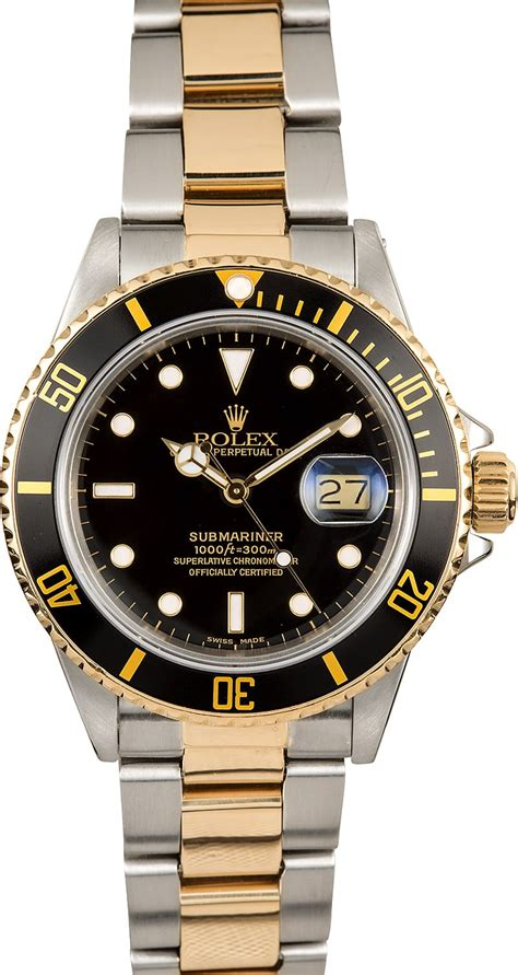 rolex oyster perpetual submariner 16803 two tone