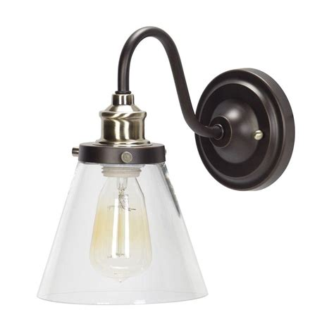 oil rubbed bronze sconces for the bathroom globe electric jackson 1 light oil rubbed bronze and antique brass wall sconce light